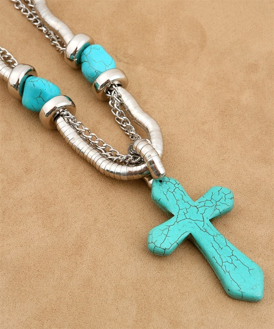 Chunky Western Cowgirl Turquoise Cross Statement Necklace Earrings Set