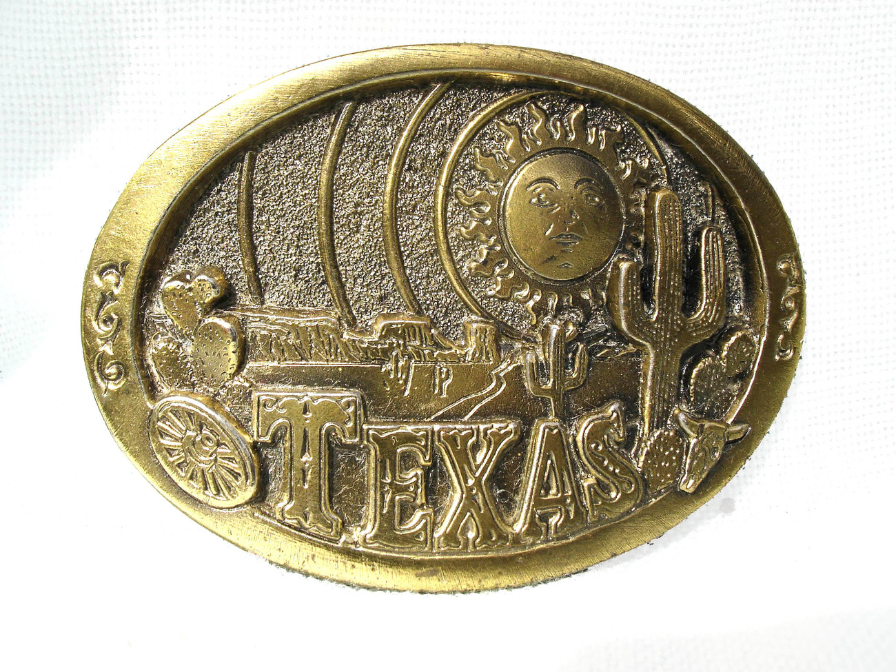 Vintage Texas Belt Buckle Art Solid Brass  1980