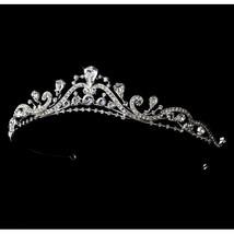 Bridal Tiara Silver Clear Swirl Rhinestone Princess Tiara
