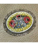 Vintage Brooch Mosaic Italy Red Yellow Green Fl... - $20.00