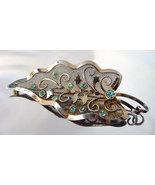 Vintage Sterling Bond Boyd Mesh Aqua Rhinestone... - $38.00