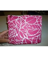 CLINIQUE PINK & WHITE FLORAL LEAVES FABRIC MEDI... - $7.99