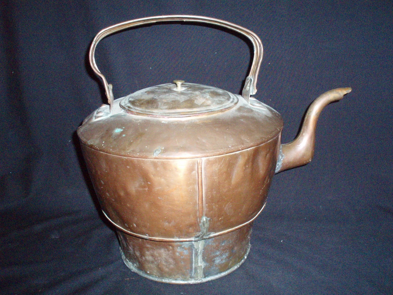antique copper kettle cook stove bottom tea pot