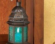 Image 0 of Blue Glass Moroccan-Style Lantern