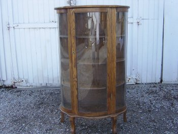 new jersey sellers oak curved glass china cabinet new glass. Black Bedroom Furniture Sets. Home Design Ideas