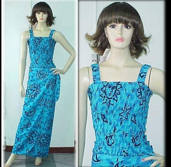 Rayon Dress Sarong Wrap Smock Top Bright Blue Sun Brust