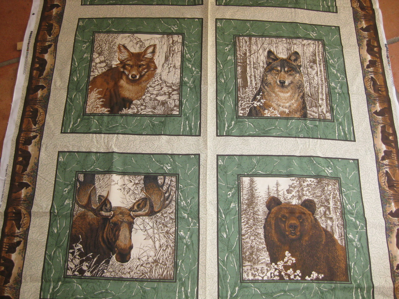 Moose And Bear Fabric http://www.bonanza.com/listings/-VIP-Design-Pillow-Fabric-BEAR-Moose/6929367