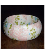 69mm Fabric Bangle Pink and Blue Flower and Gre... - $12.00