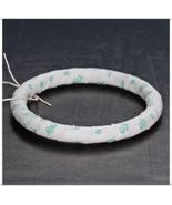 Narrow Solid Green Stencil Rosebuds Fabric Bang... - $9.98