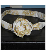 Ivory Poinsettia Lines Cream and Gold Metallic ... - $9.98