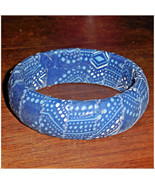 67mm Lagoon Blue Dot Fabric Wood Dome Bangle Br... - $9.98