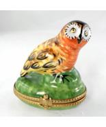 Limoges Box - Vintage Orange Owl Perched on a G... - $90.00