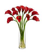 Mini Red Calla Lily Silk Flower Arrangement, Ne... - $55.72