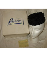 Vintage Danciger Black Lambswool Pillbox Hat w/... - $49.95