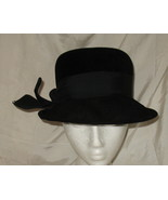 Vintage Peachbloom Black Velour Merrimac Hat Si... - $49.77