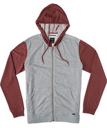 RVCA CRUCIAL II ZIP Mens Hoodie Grey Noise/Red ... - $60.00