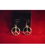 Handcrafted silver tone Peace sign kidney wire ... - $5.99