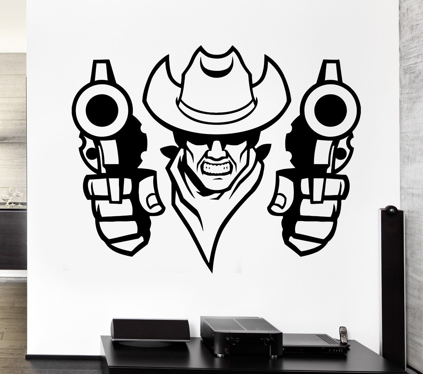 Wall Art Stickers East Rand : Wall decal bandit cowboy robber revolver hat east duel