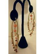 Pierced Earrings Dangle Gold Tone Light Pink Be... - $10.00