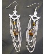 Earrings Dangle Drop Silver Amber White Rhinest... - $10.00