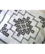 Victorian Italian White Linen Tablecloth Drawn ... - $30.00