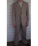 1970s Mens Suit 3 Piece Vintage 70s Jacket Vest... - $128.00
