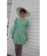 60s Mod Mini Dress Hippie Blue Print 1960s Retr... - $39.99