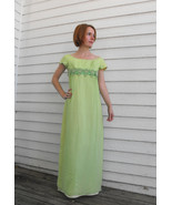 Vintage 60s Green Gown Party Dress Watteau Empi... - $59.99