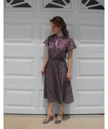 Vintage Purple Floral Dress XS S Garden Print S... - $39.99
