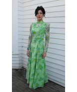 60s Green Floral Gown Retro Dress Victorian Vin... - $39.99