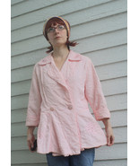 Pink Quilted Bed Jacket Vintage 50s Peplum New ... - $39.99