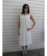 Mod White Dress Sleeveless 60s Polka Dot Collar... - $39.99