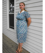 Vintage 50s Blue Sheer Print Dress 1950s XL L 16 - $79.99