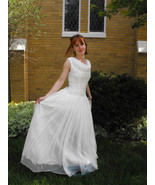 Vintage 50s Wedding Dress White Bridal Gown For... - $198.00