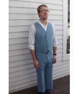 70s Mens Suit Blue 1970s Vintage Retro Missing ... - $29.99