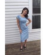 Vintage Blue Dress 50s 60s 1950s 1960s Sleevele... - $49.99