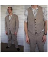Vintage 70s Mens Suit 3 piece 39 Wool Tweed Elb... - $170.00