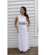 60s Lace Formal Gown Prom White Long Maxi Sleev... - $39.99