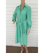 70s Dress Long Green Seafoam Casual Qiana Nylon... - $39.99