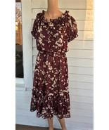 Sheer Print Dress Dark Red Maroon Vintage 70s XS S - $39.99