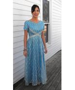 Emma Domb Blue Silver Lace Gown Vintage 60s Par... - $89.99