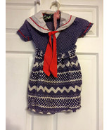 Vintage Girls Sailor Dress Cotton White Blue AS IS - $7.00