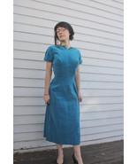 50s Velvet Dress Vintage Turquoise Blue Party C... - $125.00