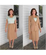 Tan Suit Skirt Jacket Set Vintage Levis Strauss... - $39.99