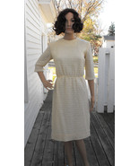 1960s Knit Dress Ivory Sweater Autumn Vintage 1... - $39.99