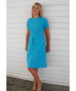 Vintage 60s Dress Blue Bright 1960s Short Sleev... - $9.99