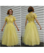 1950s Prom Dress Yellow Tulle Strapless Party F... - $225.00