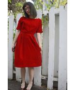 Red Velvet Party Dress Cocktail Vintage 60s 196... - $59.99