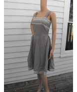 Gingham 50s Dress Sun Vintage Print Brown White... - $49.99