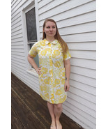 60s Mod House Dress Cotton Vintage Yellow Print... - $29.99